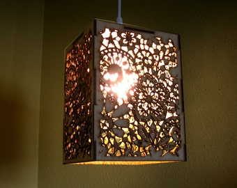 Gold mirror lace pendant light hanging lamp laser by fabparlor for Doily light fixture