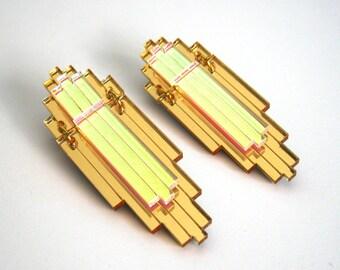 EMPIRE Art Deco Statement Earrings - Iridescent Gold Mirror Laser Cut Jewel Acrylic Perspex
