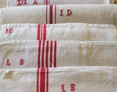FRENCH LINEN  kitchen cloths red stripe 10 CLOTHS 125 dollars special price  ..linen napkins red linen French torchons - vintagefrenchstyle