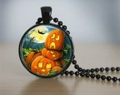 Halloween Necklace GlassTile Necklace Pumpkin Jewelry Black Necklace Glass Tile Jewelry Halloween Jewelry Holiday Jewelry Black Jewelry