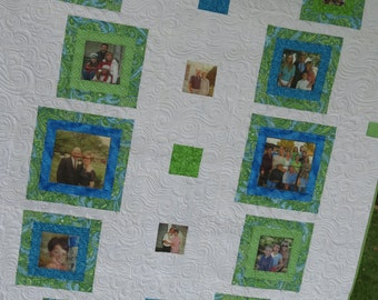 Photo Quilt Lap Quilt or Wall Hanging Memory Quilt with Photos for Anniversary, Birthday, Graduation