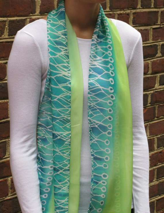Green Neurons Silk Chiffon Scarf