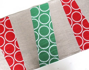 SALE - Table Runner -- Wonky Stripes -- Christmas Red and Green with Natural Linen - Ready to Ship