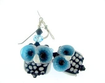 Owl Earrings, Lampwork Earrings, Glass Bead Jewelry, Black White Animal Earring, Lampwork Jewelry, Glass Bead Earrings, Dangle Drop Earrings