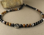 Energy Balance Men's Necklace with Tiger Eye & Black Onyx