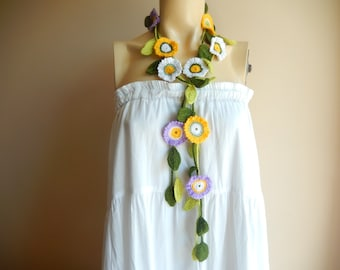 Crochet  Scarf-Daisies Lariat Necklace Scarf-Handmade Loop Scarf-Spring Scarf