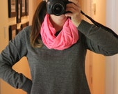 One Size Infinity Scarf -- Neon Pink Jersey Knit  -- Tween, Teen and Adult