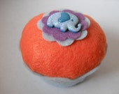Elephant Felt Cupcake - Decoration, Girls Room, Birthdays, Pin Cushion, Animal Party
