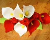 Felt calla lily and rose bouquet--PDF Pattern and instructions--P06