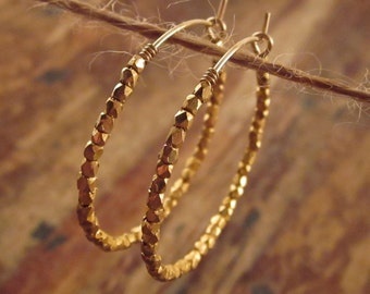Gold Hoop Earrings Gold Hoops Womens Holiday Gift for Women Gold Beaded Hoops Beaded Hoop Earrings Jewelry Gifts for Her Wife Mom Girlfriend