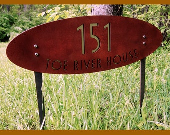 CUSTOM Deluxe House Numbers Oval Rusted Steel & Stainless Ground-stakes