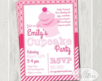 Cupcake Invitation | Cupcake Birthday, Baking Party, Cupcakes, Girls Birthday, Bakery, Sweet Shoppe | INSTANT DOWNLOAD TEMPLATE