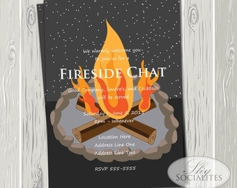 Bonfire Invitation | Birthday Parties, Showers, Camp Outs, Cocktail Parties | Fire Pit, S'mores, Night Sky, Stars | INSTANT DOWNLOAD