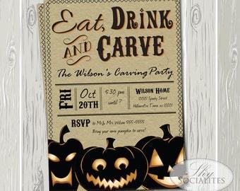 Pumpkin Carving Party Invitation | Kraft Invitation, Craft, Vintage, Eat Drink and Carve, Jack-O-Lanterns | Printed or Printable Cards