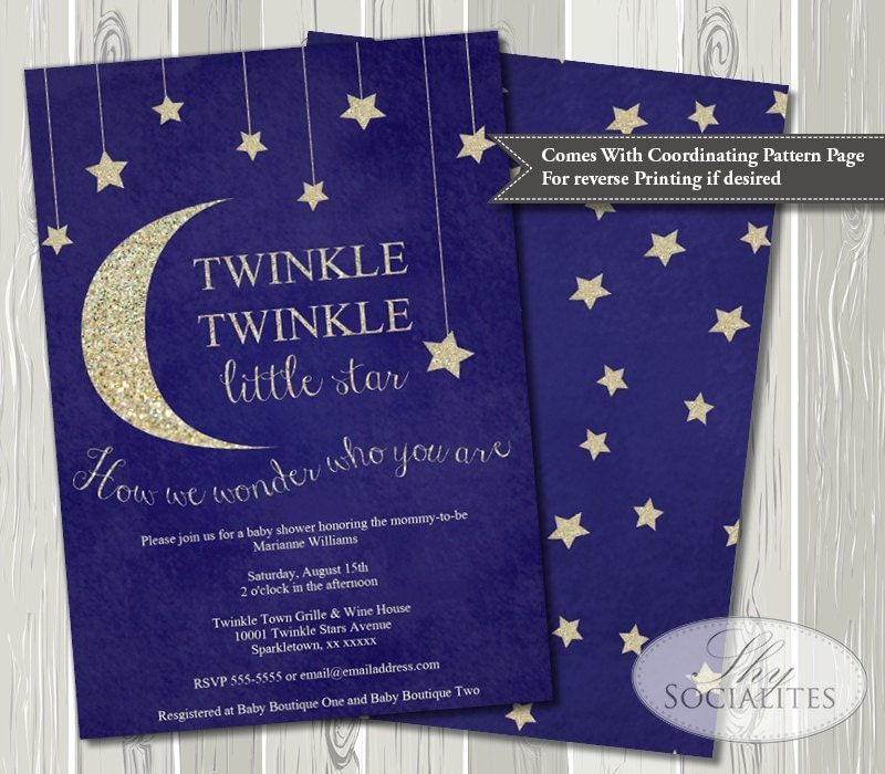 Selective image within free printable twinkle twinkle little star baby shower invitations