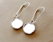 10Pcs  Silver  finish base tray earring Ear Wires- cabochon With Round 12mm base NICKEL FREE (EAR-92)