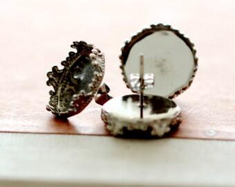 10 Pcs Silver plated Brass Filigree Lace 15MM Cabochon Base Steel Post Earring NICKEL FREE(EAR-76)