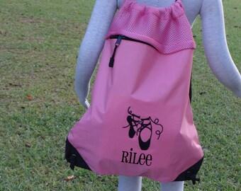 Personalized DANCE Bag  Ballet Bag  Cinch Pack  Backpack  PINK GYMNASTICS Bag