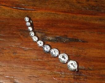 Journey Pendant Sterling Silver & Ten CZ's Cubic Zirconia Diamonds Vintage 10 Stones Graduating Size