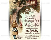 Alice in Wonderland Invitation - Customizable Wordings - DIY invitation - Print your own