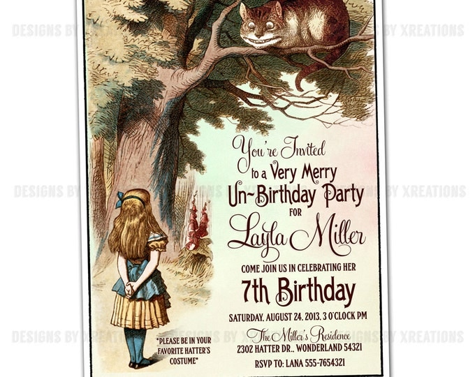Alice in Wonderland Invitation, Customizable Wordings, DIY invitation, Print your own