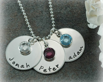 Birthstone Charm Necklace - Hand Stamped Jewelry - Personalized discs - Three - 3 names with birthstones, Mother's day gifts, gifts for mom