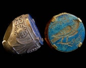 Afghan lapis tribal silver ring with carved bird  image, thick back for resizing, size 11.5