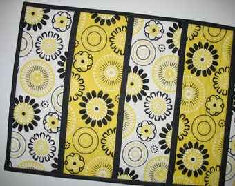 Yellow Black Table Runner  with Daisy motif, fabric from Red Rooster