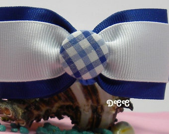 Dog Collar Rich Stripes Checkered Navy Blue Light Blue White Business Attire Choose SIZE Adjustable Dogs Collars w D Ring Accessories Pet