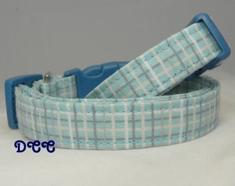 Dog Collar Cotton Light Turquoise White Grey Stripes Adjustable Dogs Collars D Ring Choose Size Accessories Gray Stripe Accessory Pet Pets