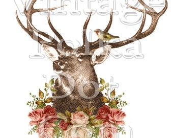 Clip Art Vintage Deer with Antlers Rose Garland Bird Altered Art Woodland Collage Vintage Graphic Printable Digital Instant Download