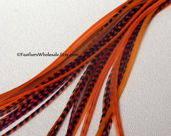 Hair Feathers Wholesale Orange Tangerine Coral Real Feather Extension Hair Accessories Orange Hair Extensions - 30Pack Plume Extensions Bulk