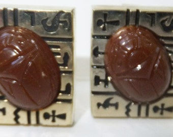 Vintage accessory mens cuff links in Egyptian gold with red brick faux carmine scarab Sale half price