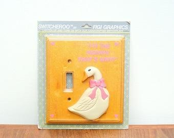 Vintage Figi Graphics Goose Switchplate for Childs Room