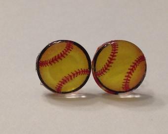 Softball Glass Post Earrings