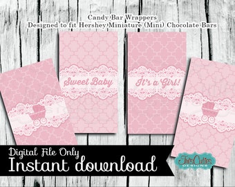 Printable Mini Candy Bar Wrapper - Baby Shower - Pink Stroller