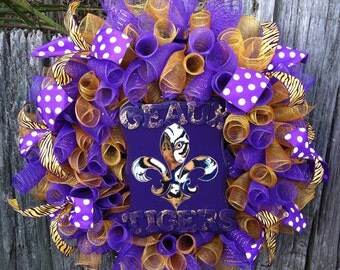 LSU Wreath, Wreath, LSU Decor, LSU, Geaux Tigers, Purple and Gold Decor