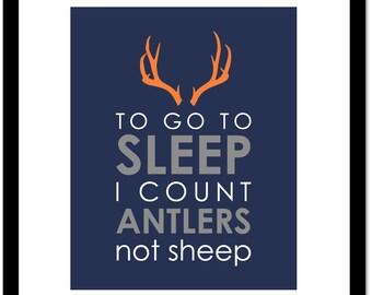 "To Go To Sleep I Count Antlers Not Sheep Deer Antler Silhouette Nursery Print Boy Room Decor - One print -  16""x20"""