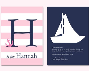 "Nautical Nursery Art Baptism Gift New Baby Boy Gift Girl Room Decor Nursery Art Baby GIrl Gift - Set of two Prints You Choose Colors 5""x7"""