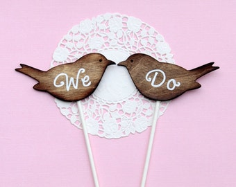 We Do, Love Birds Cake Topper, Dark Brown & White