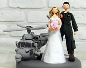 Custom Wedding Cake Topper - Navy Helicopter pilot -