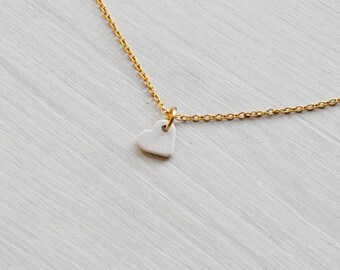 tiny white heart -necklace (white ceramic heart charm and gold plated chain minimal discreet neckpiece)