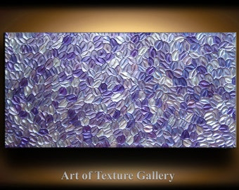 Abstract Texture Painting 48 x 24 Custom Original Modern Metallics Texture Purple Silver White Carved Painting Abstract Oil by Je Hlobik