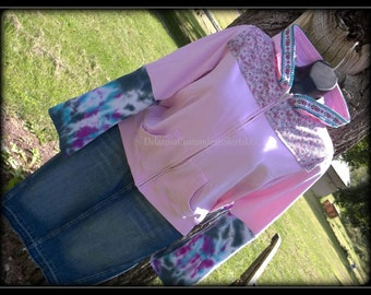 Alaska Pink Floral Bohemian Hippie Upcycled Zip Up Hoodie Hooded Sweatshirt Sweater Size Large