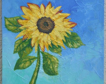 "Sunflower Painting, 18""x18"", Original Art. ready to hang."
