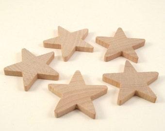 50 Little Wooden Stars - 1 1/2 Inch