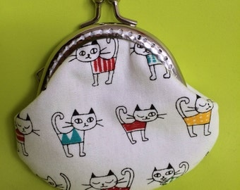 Small Handmade Coin Purse - Little kitten in 4 colour