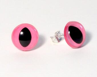 Pink Kitty Eye Earrings