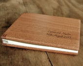 unique wedding guest book with mahogany wood covers  cabin guestbook sketchbook journal unique wedding gift anniversary gift - made to order