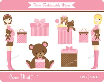 Pink Fashionable Mom to Be Clip Art